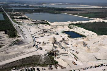 White Rock Quarries' main limestone processing facility in Miami, FL. The division also operates a South quarry a few miles away.