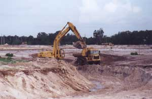 One of 11 lakes being dug at the site.