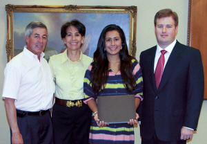 Lina Maria Cajiao, daughter of Raul Cajiao, Terminal Operator at South Florida Materials Corp., will be attending Florida Atlantic University to earn a Nursing degree. Shown are Lina and her parents, with Christopher Vecellio, right.