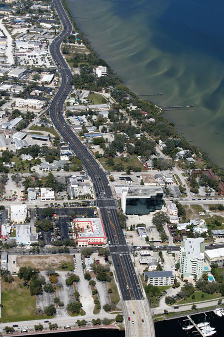 aerial view of a road near the beach in Florida