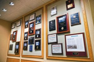 a display of multiple awards Ranger Construction has earned